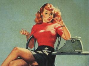 pinup with typewriter