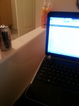 studying in bathtub
