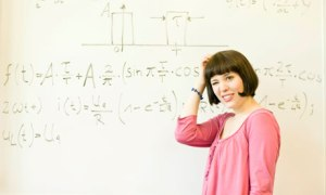 confused woman with maths