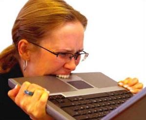 biting laptop