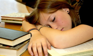 passed out studying