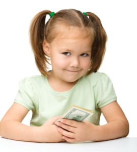 little girl with money