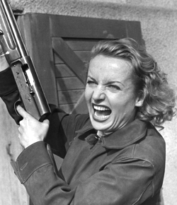 crazy woman with gun