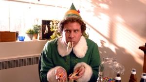 elf eating spaghett