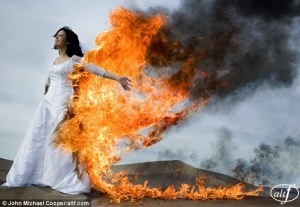 burning wedding dress
