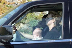 Britney Spears drives with baby Sean